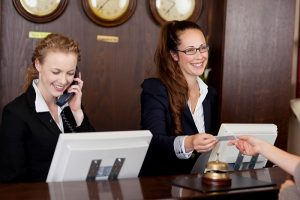 travel tips at hotel reservations desk
